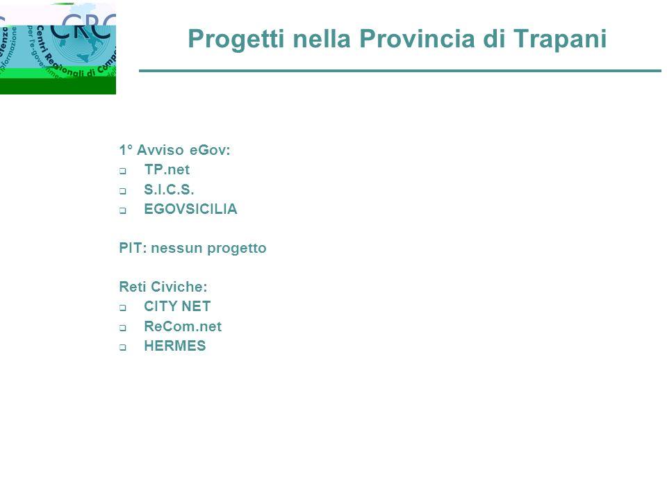Progetti nella Provincia di Trapani 1° Avviso eGov: TP.net S.I.C.S.