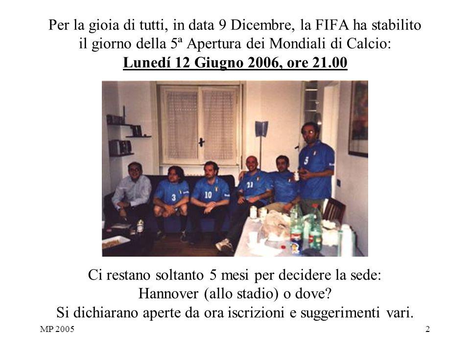 MP 20052 Per la gioia di tutti, in data 9 Dicembre, la FIFA ha stabilito il giorno della 5ª Apertura dei Mondiali di Calcio: Lunedí 12 Giugno 2006, or