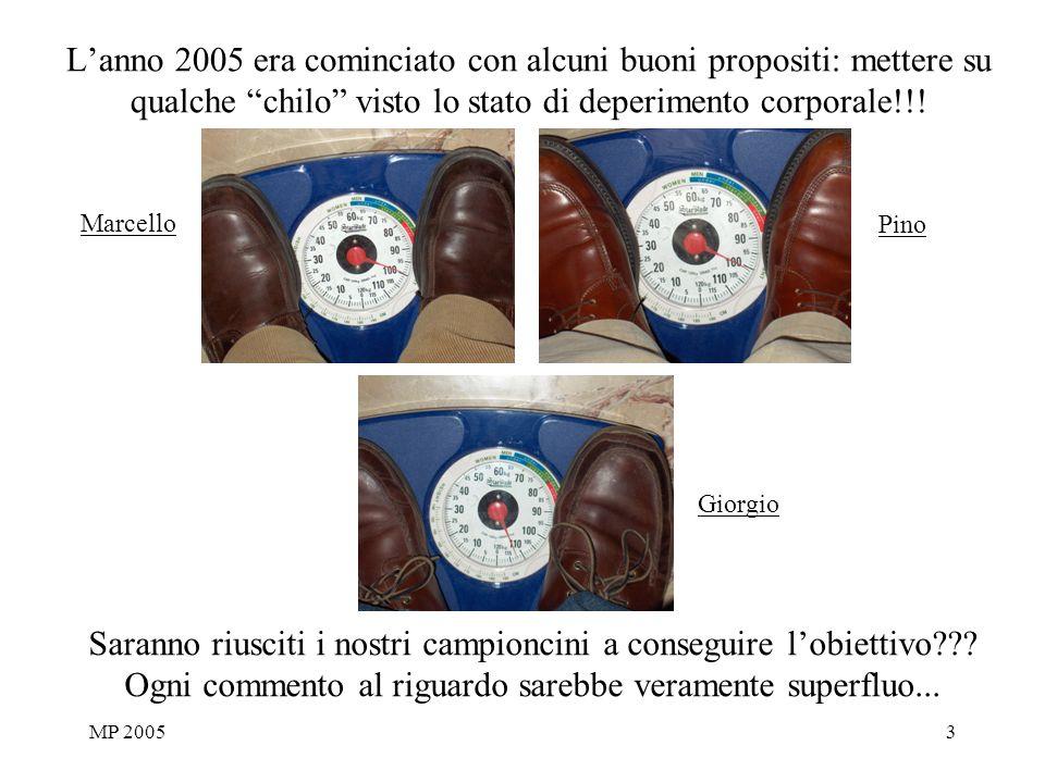 MP 20053 Lanno 2005 era cominciato con alcuni buoni propositi: mettere su qualche chilo visto lo stato di deperimento corporale!!! Saranno riusciti i