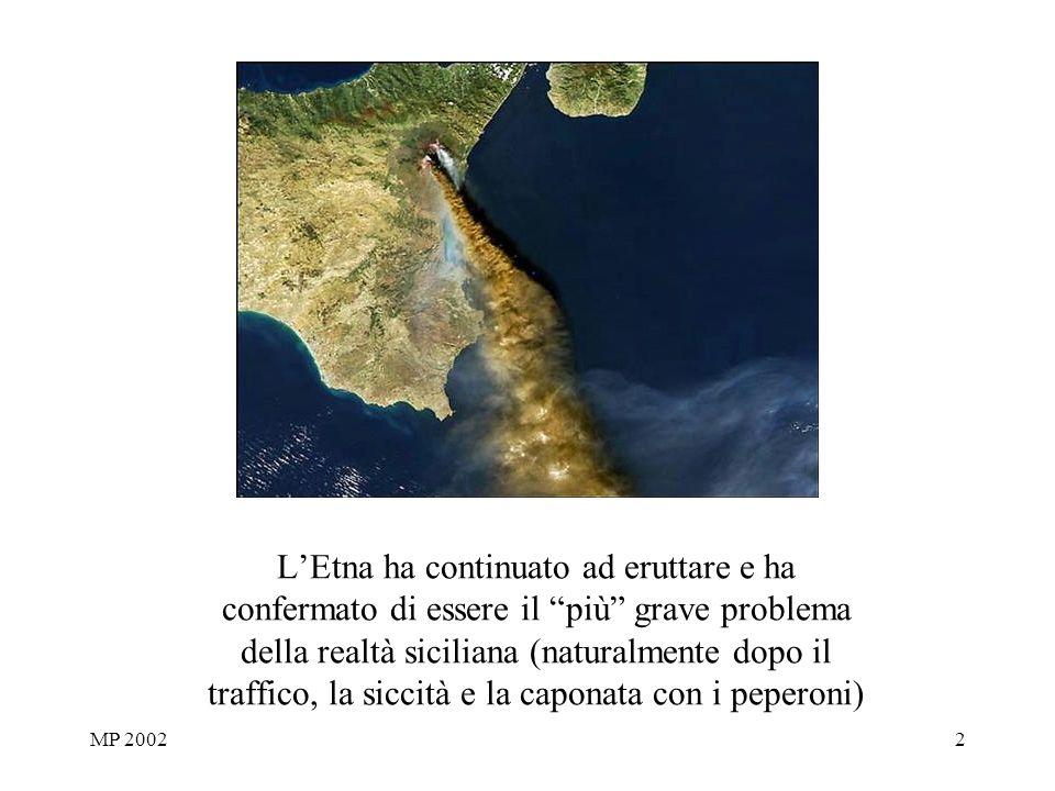 MP 20022 LEtna ha continuato ad eruttare e ha confermato di essere il più grave problema della realtà siciliana (naturalmente dopo il traffico, la siccità e la caponata con i peperoni)