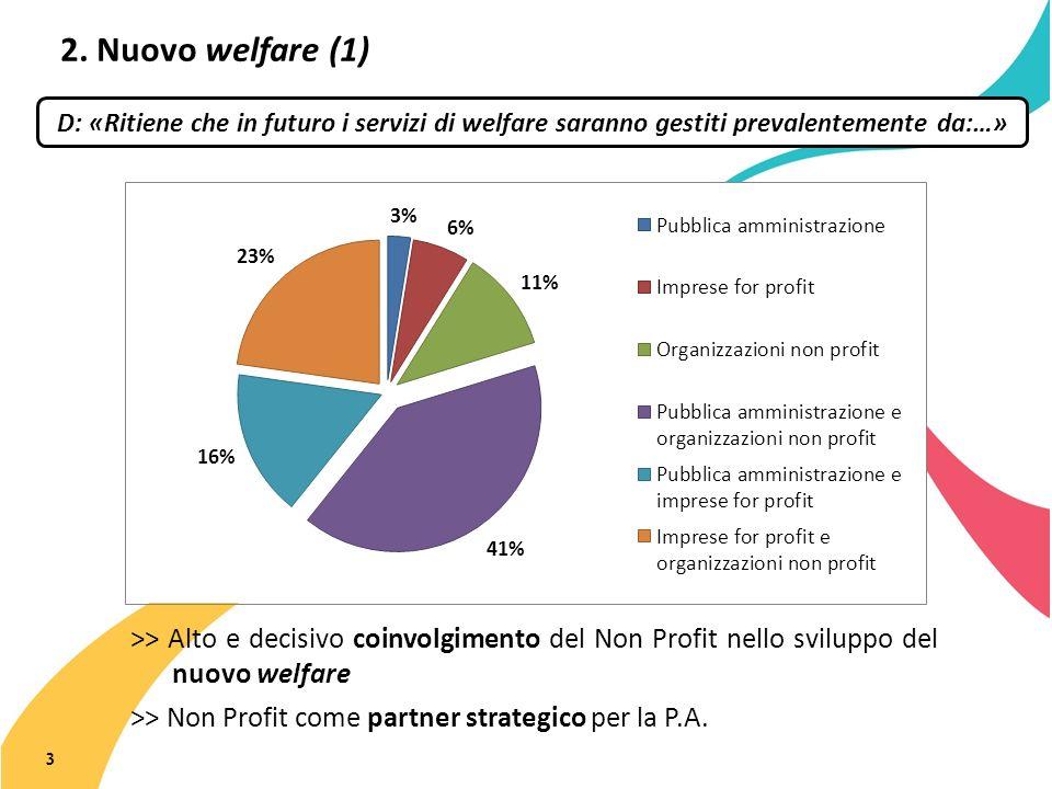 2. Nuovo welfare (1) 3 D: «Ritiene che in futuro i servizi di welfare saranno gestiti prevalentemente da:…» >> Alto e decisivo coinvolgimento del Non