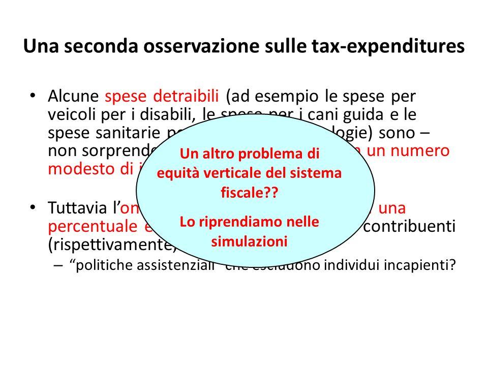 Una seconda osservazione sulle tax-expenditures Alcune spese detraibili (ad esempio le spese per veicoli per i disabili, le spese per i cani guida e l
