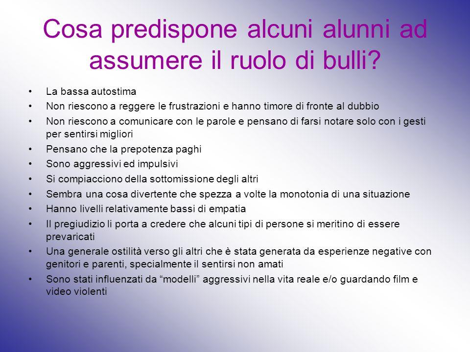 Cosa predispone alcuni alunni ad assumere il ruolo di bulli? La bassa autostima Non riescono a reggere le frustrazioni e hanno timore di fronte al dub