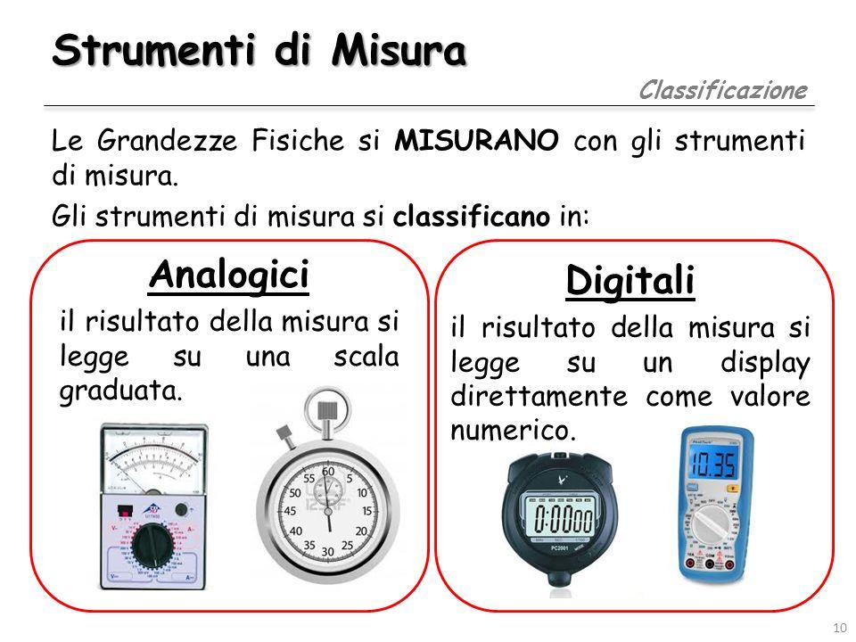 Strumenti di Misura Caratteristiche Le principali caratteristiche di uno strumento di misura sono: Sensibilità La minima variazione della grandezza che lo strumento può rilevare.