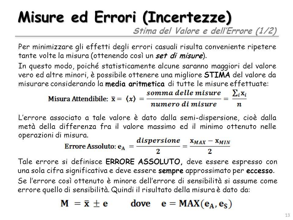 Misure ed Errori (Incertezze) Per minimizzare gli effetti degli errori casuali risulta conveniente ripetere tante volte la misura (ottenendo così un s