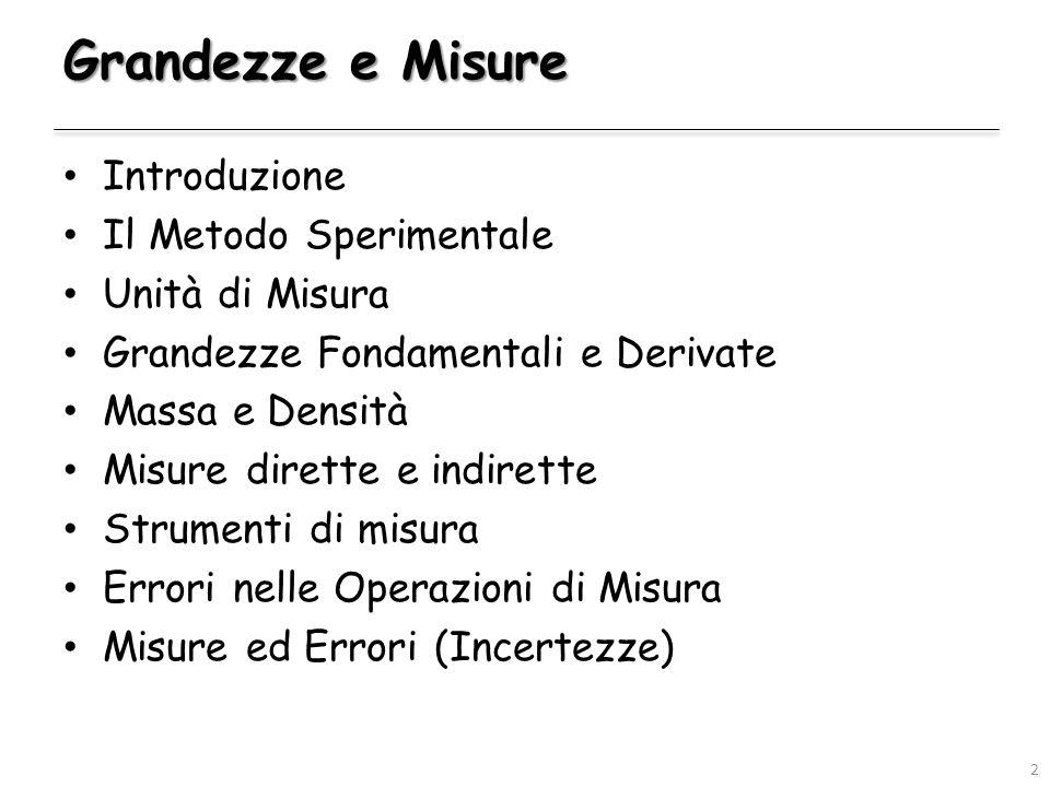 Introduzione Il Metodo Sperimentale Unità di Misura Grandezze Fondamentali e Derivate Massa e Densità Misure dirette e indirette Strumenti di misura E
