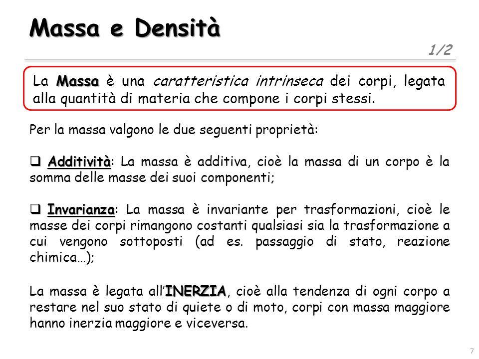 Massa e Densità 2/2 Densità La Densità di un corpo è data dal rapporto fra la sua massa ed il suo volume: La densità è quindi una grandezza derivata, nel SI si misura in kg/m 3, ed è una caratteristica tipica delle sostanze omogenee.