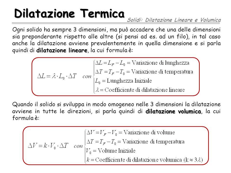 Dilatazione Termica dilatazione lineare Ogni solido ha sempre 3 dimensioni, ma può accadere che una delle dimensioni sia preponderante rispetto alle a