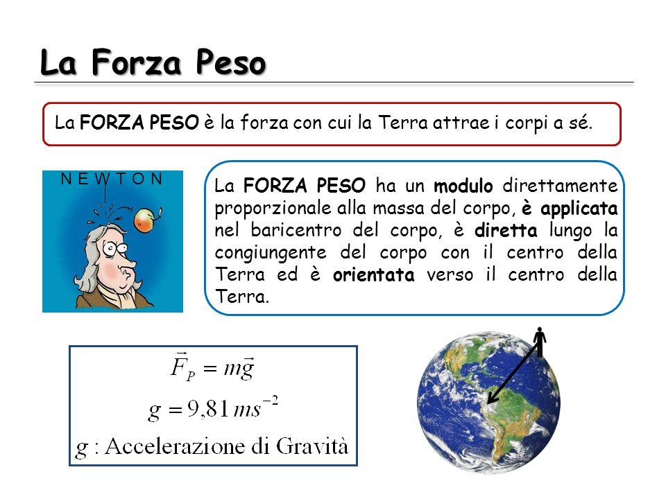 La Forza Peso La FORZA PESO è la forza con cui la Terra attrae i corpi a sé. La FORZA PESO ha un modulo direttamente proporzionale alla massa del corp