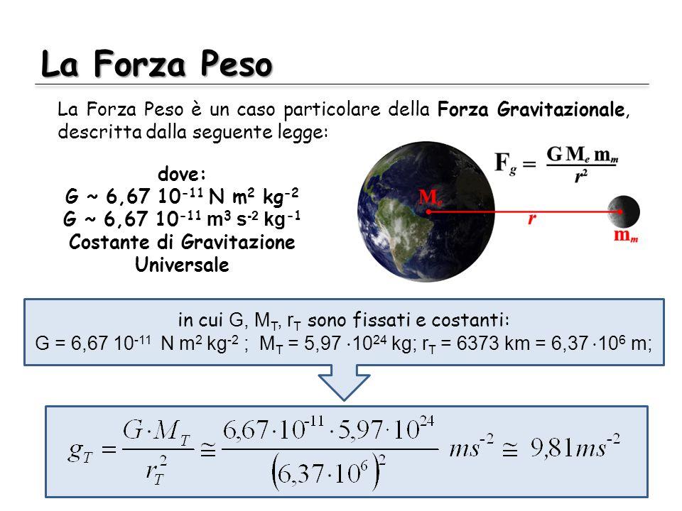 La Forza Peso La Forza Peso è un caso particolare della Forza Gravitazionale, descritta dalla seguente legge: dove: G ~ 6,67 10 -11 N m 2 kg -2 G ~ 6,