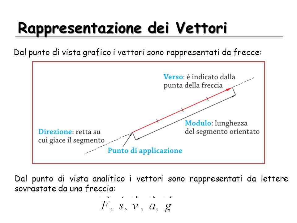 Rappresentazione dei Vettori Dal punto di vista grafico i vettori sono rappresentati da frecce: Dal punto di vista analitico i vettori sono rappresentati da lettere sovrastate da una freccia: