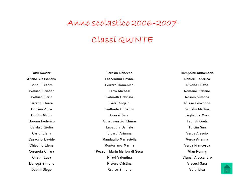 Anno scolastico 2006-2007 Classi QUINTE Akil Kawtar Alfano Alessandro Badolli Blerim Bellusci Cristian Bellusci Ilaria Beretta Chiara Bonvini Alice Bo