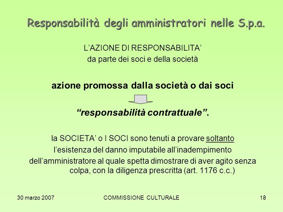 30 marzo 2007COMMISSIONE CULTURALE18 Responsabilità degli amministratori nelle S.p.a. LAZIONE DI RESPONSABILITA da parte dei soci e della società azio
