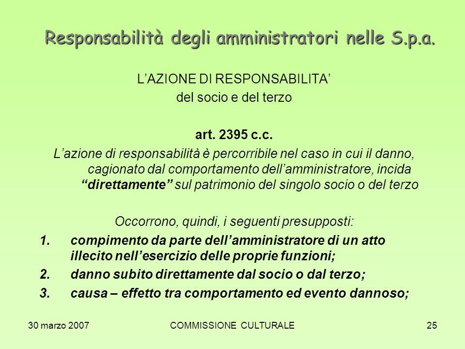 30 marzo 2007COMMISSIONE CULTURALE25 Responsabilità degli amministratori nelle S.p.a. LAZIONE DI RESPONSABILITA del socio e del terzo art. 2395 c.c. L
