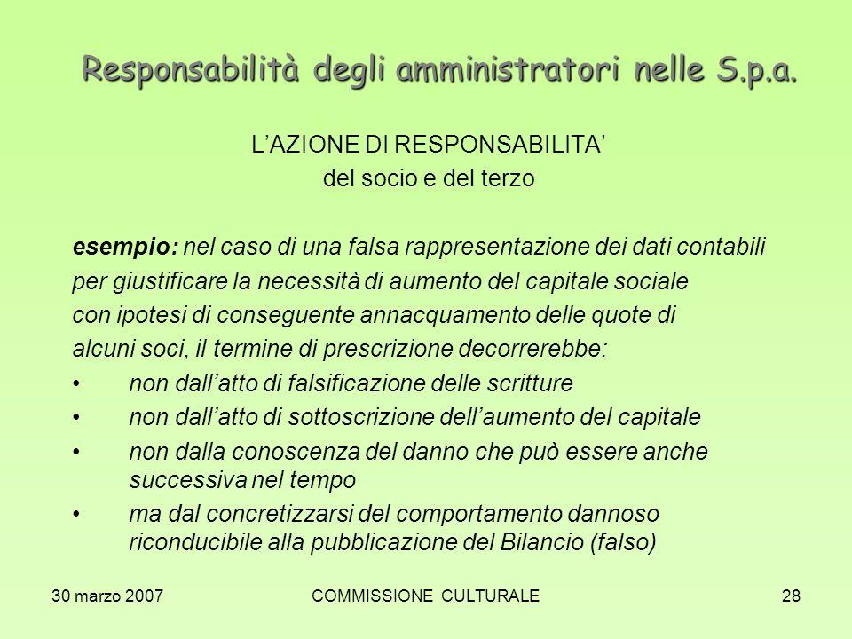 30 marzo 2007COMMISSIONE CULTURALE28 Responsabilità degli amministratori nelle S.p.a. LAZIONE DI RESPONSABILITA del socio e del terzo esempio: nel cas