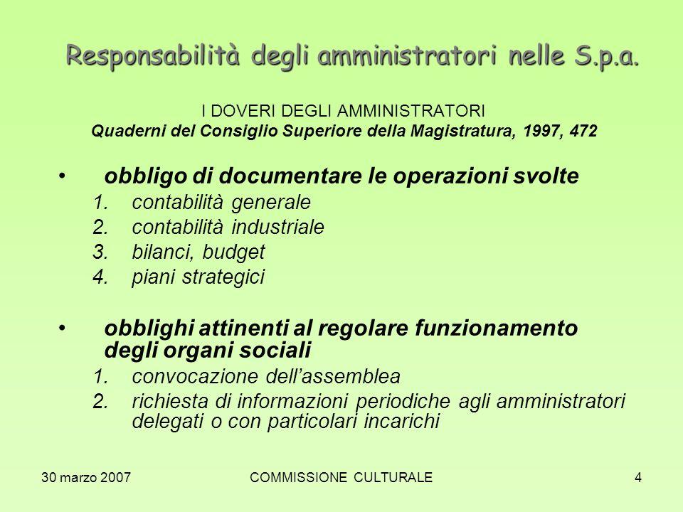 30 marzo 2007COMMISSIONE CULTURALE4 Responsabilità degli amministratori nelle S.p.a. I DOVERI DEGLI AMMINISTRATORI Quaderni del Consiglio Superiore de