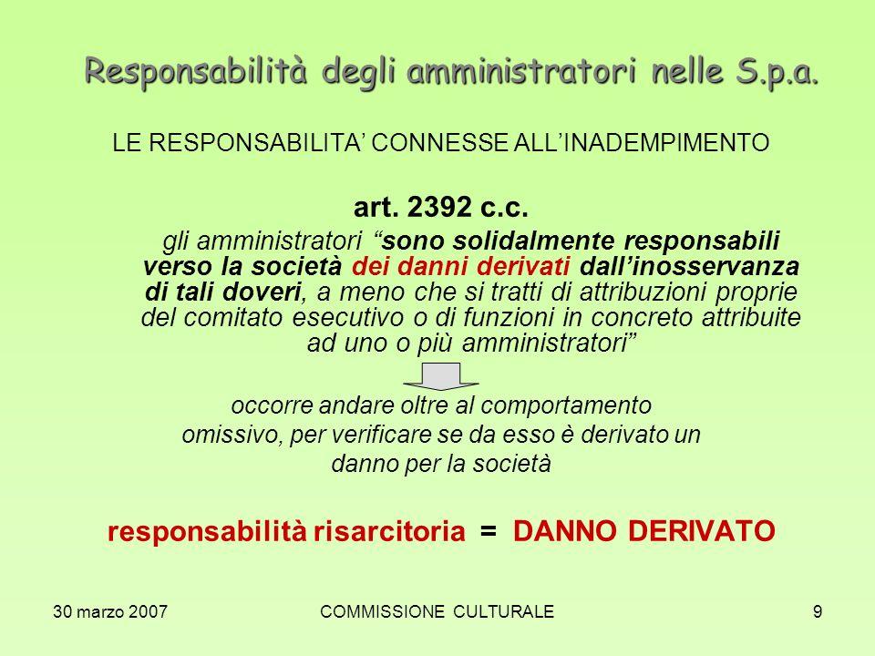30 marzo 2007COMMISSIONE CULTURALE9 Responsabilità degli amministratori nelle S.p.a. LE RESPONSABILITA CONNESSE ALLINADEMPIMENTO art. 2392 c.c. gli am