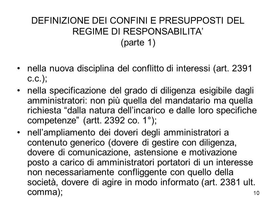 10 DEFINIZIONE DEI CONFINI E PRESUPPOSTI DEL REGIME DI RESPONSABILITA (parte 1) nella nuova disciplina del conflitto di interessi (art.