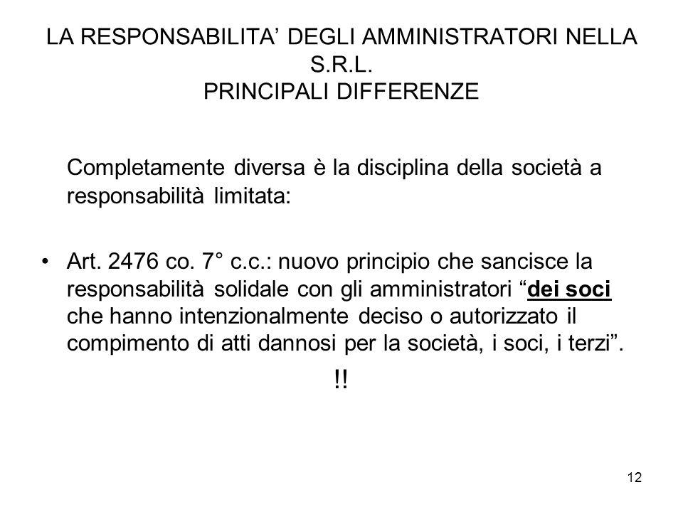 12 LA RESPONSABILITA DEGLI AMMINISTRATORI NELLA S.R.L.