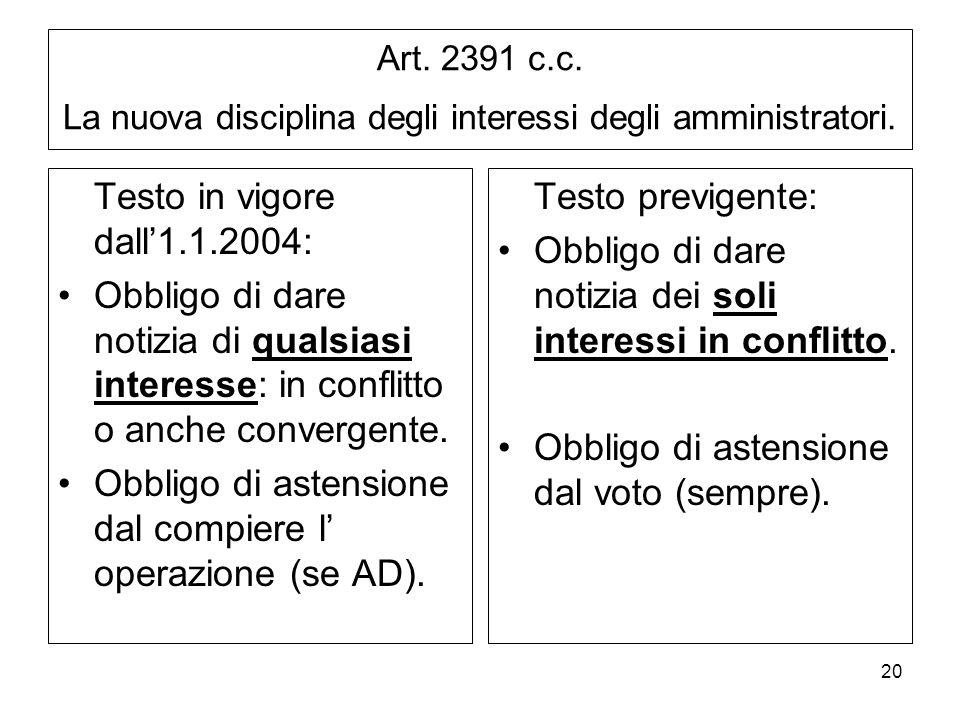 20 Art.2391 c.c. La nuova disciplina degli interessi degli amministratori.