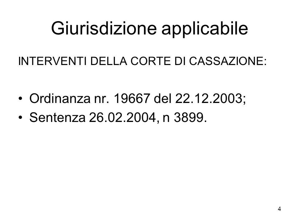 4 Giurisdizione applicabile INTERVENTI DELLA CORTE DI CASSAZIONE: Ordinanza nr.