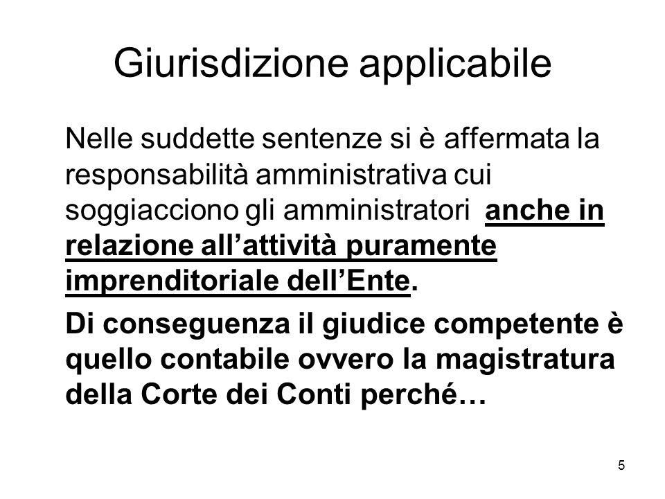 5 Giurisdizione applicabile Nelle suddette sentenze si è affermata la responsabilità amministrativa cui soggiacciono gli amministratori anche in relazione allattività puramente imprenditoriale dellEnte.