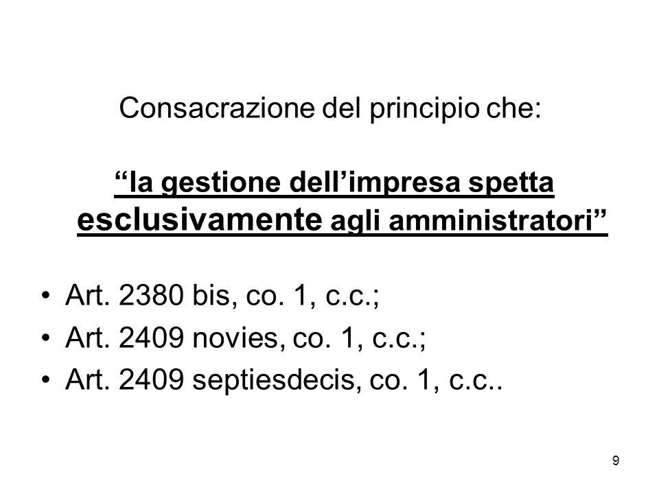 9 Consacrazione del principio che: la gestione dellimpresa spetta esclusivamente agli amministratori Art.