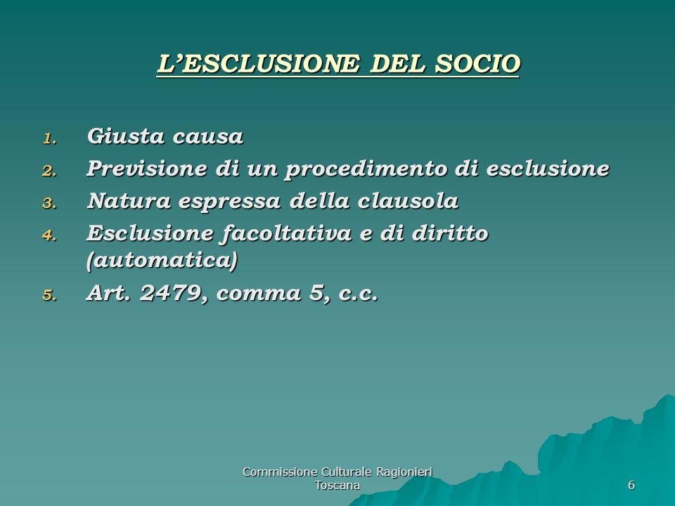 Commissione Culturale Ragionieri Toscana 6 LESCLUSIONE DEL SOCIO 1.