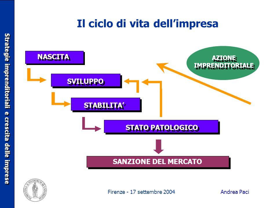 Firenze - 17 settembre 2004 Il ciclo di vita dellimpresa NASCITA SVILUPPO SANZIONE DEL MERCATO AZIONE IMPRENDITORIALE Strategie imprenditoriali e cres