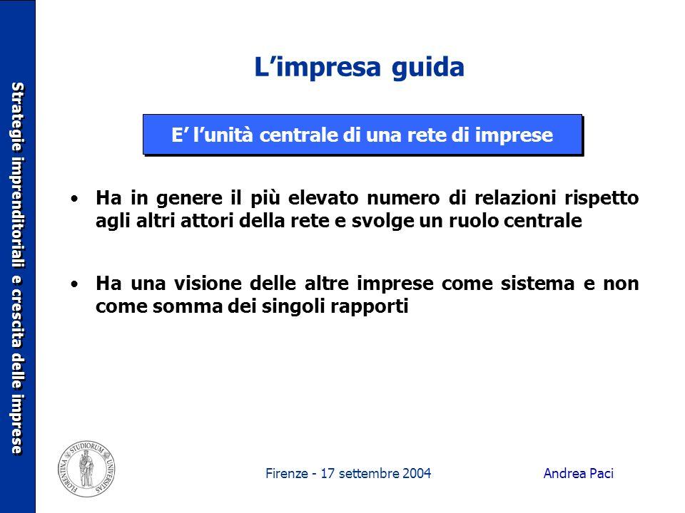 Firenze - 17 settembre 2004 Limpresa guida Strategie imprenditoriali e crescita delle imprese Ha in genere il più elevato numero di relazioni rispetto