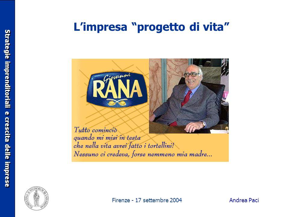Firenze - 17 settembre 2004 Limpresa progetto di vita Strategie imprenditoriali e crescita delle imprese Andrea Paci