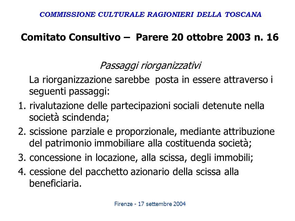Firenze - 17 settembre 2004 Comitato Consultivo – Parere 20 ottobre 2003 n. 16 Passaggi riorganizzativi La riorganizzazione sarebbe posta in essere at