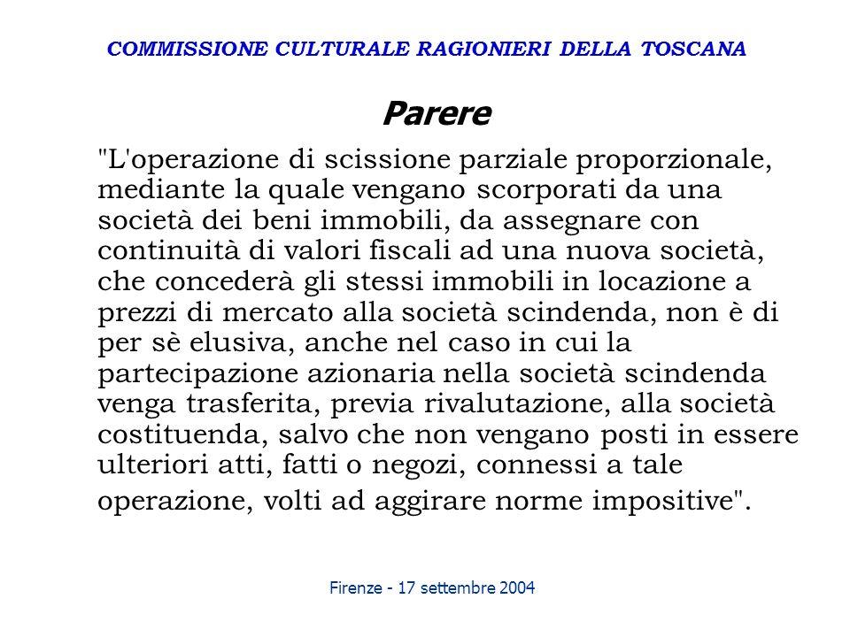 Firenze - 17 settembre 2004 Parere
