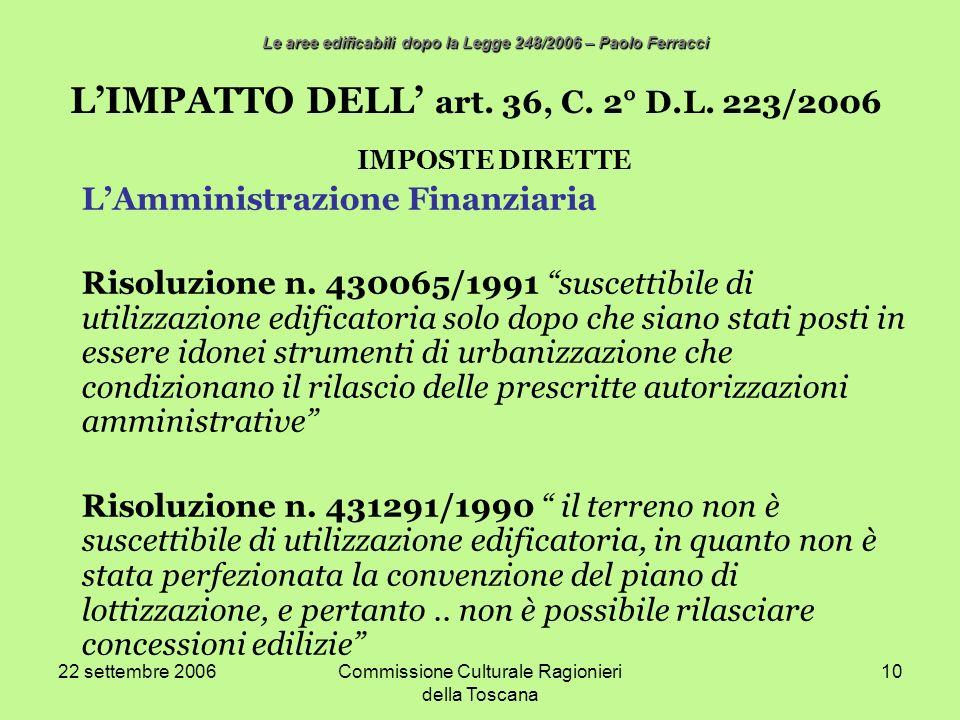 22 settembre 2006Commissione Culturale Ragionieri della Toscana 10 LIMPATTO DELL art. 36, C. 2° D.L. 223/2006 IMPOSTE DIRETTE LAmministrazione Finanzi