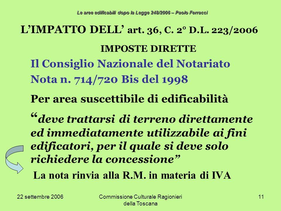 22 settembre 2006Commissione Culturale Ragionieri della Toscana 11 LIMPATTO DELL art. 36, C. 2° D.L. 223/2006 IMPOSTE DIRETTE Il Consiglio Nazionale d