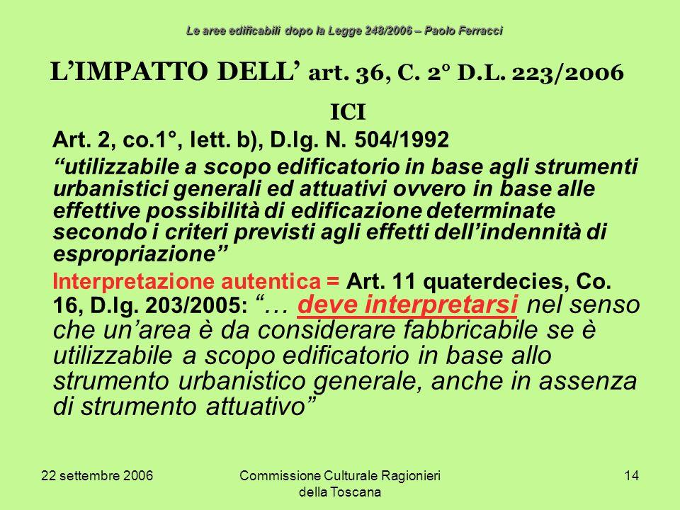 22 settembre 2006Commissione Culturale Ragionieri della Toscana 14 LIMPATTO DELL art. 36, C. 2° D.L. 223/2006 ICI Art. 2, co.1°, lett. b), D.lg. N. 50