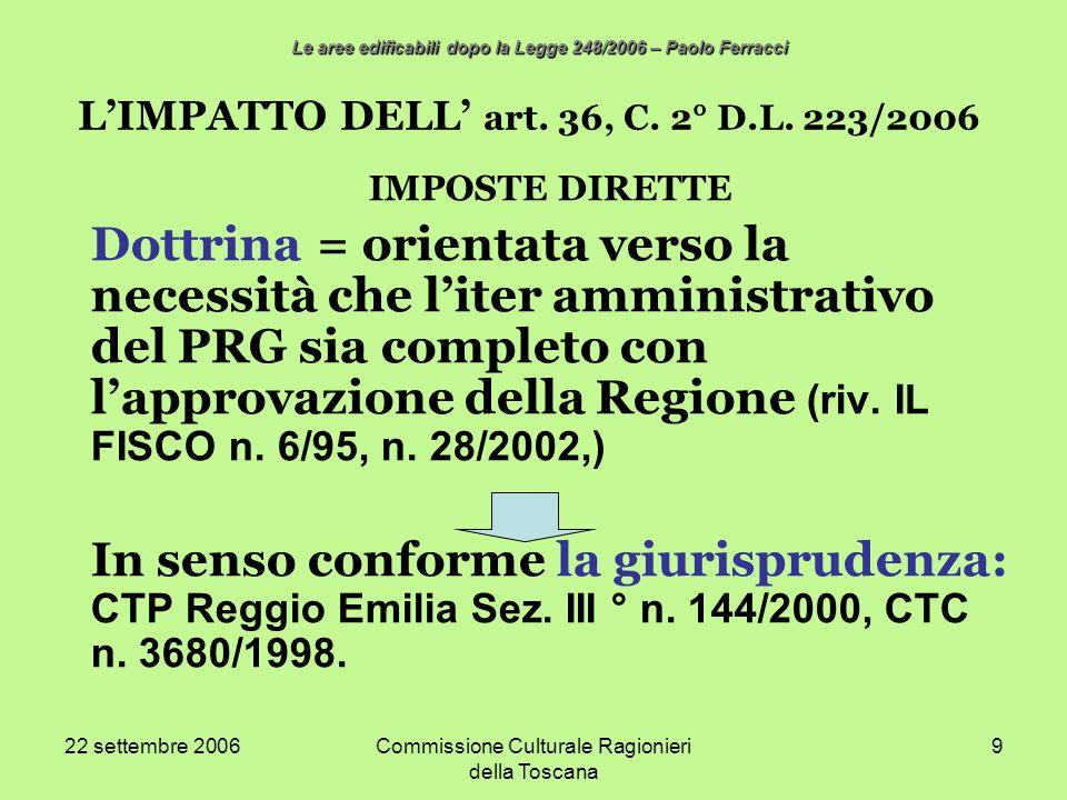 22 settembre 2006Commissione Culturale Ragionieri della Toscana 9 LIMPATTO DELL art. 36, C. 2° D.L. 223/2006 IMPOSTE DIRETTE Dottrina = orientata vers