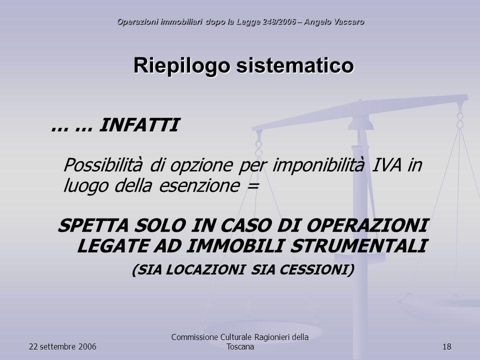 22 settembre 2006 Commissione Culturale Ragionieri della Toscana18 Riepilogo sistematico … … INFATTI Possibilità di opzione per imponibilità IVA in luogo della esenzione = SPETTA SOLO IN CASO DI OPERAZIONI LEGATE AD IMMOBILI STRUMENTALI (SIA LOCAZIONI SIA CESSIONI) Operazioni immobiliari dopo la Legge 248/2006 – Angelo Vaccaro