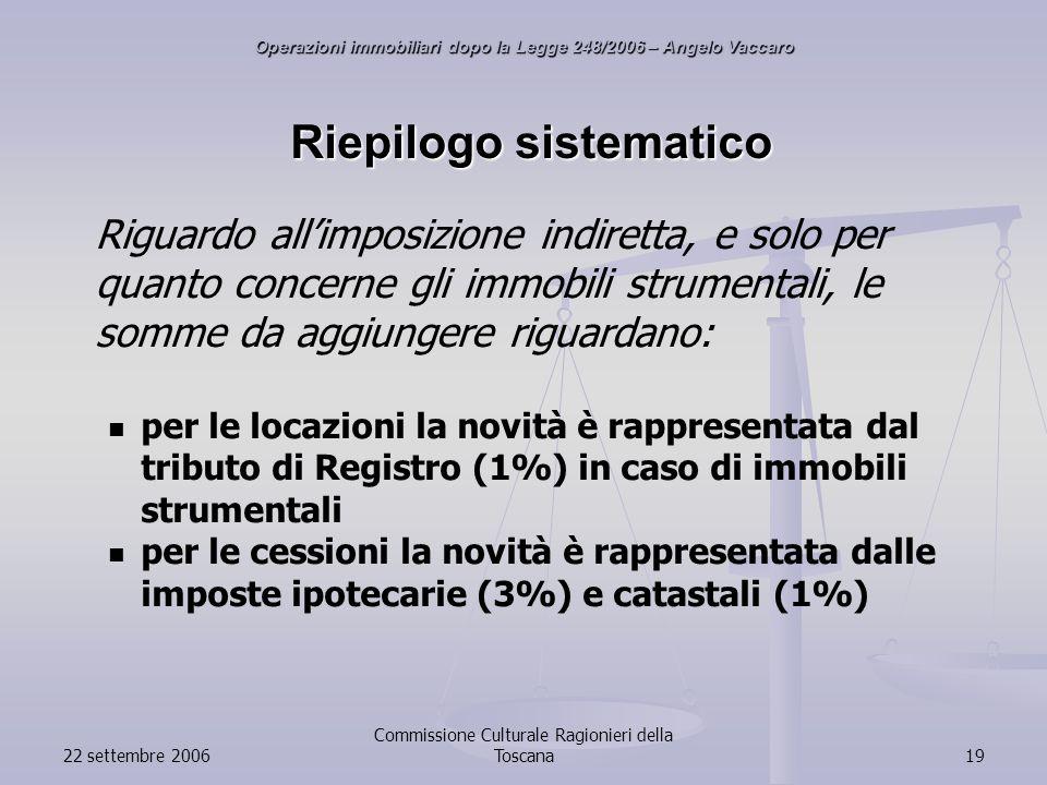 22 settembre 2006 Commissione Culturale Ragionieri della Toscana19 Riepilogo sistematico Riguardo allimposizione indiretta, e solo per quanto concerne gli immobili strumentali, le somme da aggiungere riguardano: per le locazioni la novità è rappresentata dal tributo di Registro (1%) in caso di immobili strumentali per le cessioni la novità è rappresentata dalle imposte ipotecarie (3%) e catastali (1%) Operazioni immobiliari dopo la Legge 248/2006 – Angelo Vaccaro