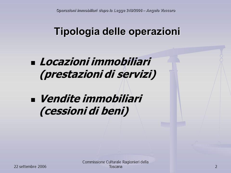 22 settembre 2006 Commissione Culturale Ragionieri della Toscana2 Tipologia delle operazioni Locazioni immobiliari (prestazioni di servizi) Vendite immobiliari (cessioni di beni) Operazioni immobiliari dopo la Legge 248/2006 – Angelo Vaccaro