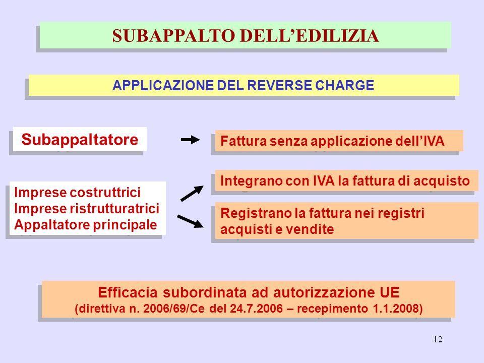 12 SUBAPPALTO DELLEDILIZIA APPLICAZIONE DEL REVERSE CHARGE Efficacia subordinata ad autorizzazione UE (direttiva n. 2006/69/Ce del 24.7.2006 – recepim