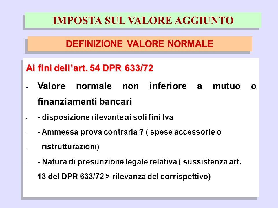 19 Ai fini dellart. 54 DPR 633/72 - Valore normale non inferiore a mutuo o finanziamenti bancari - - disposizione rilevante ai soli fini Iva - - Ammes