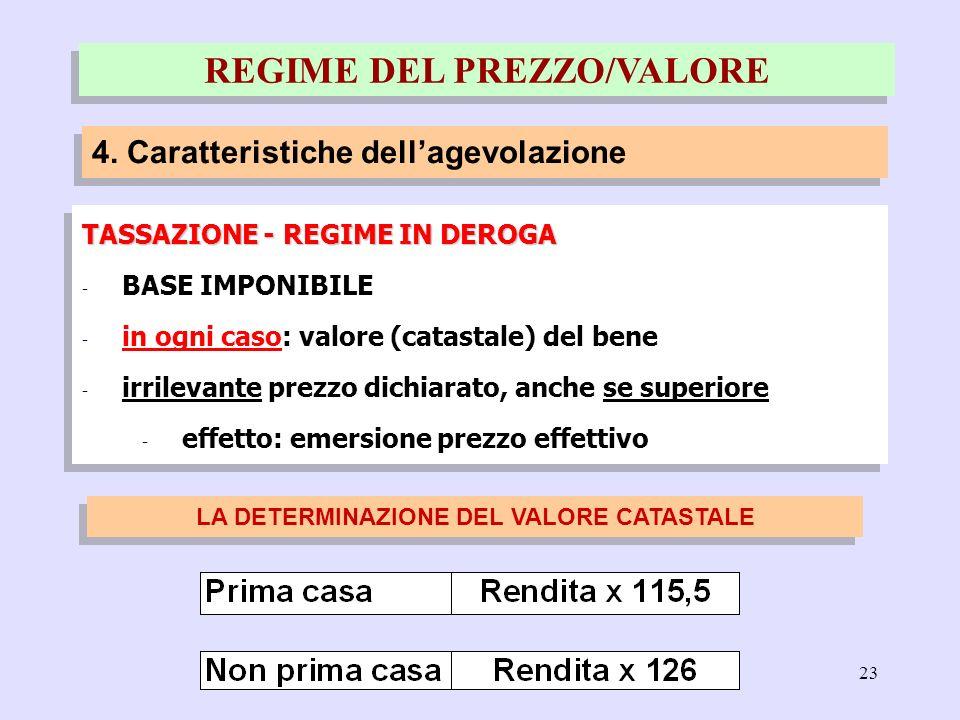 23 TASSAZIONE - REGIME IN DEROGA - BASE IMPONIBILE - in ogni caso: valore (catastale) del bene - irrilevante prezzo dichiarato, anche se superiore - e