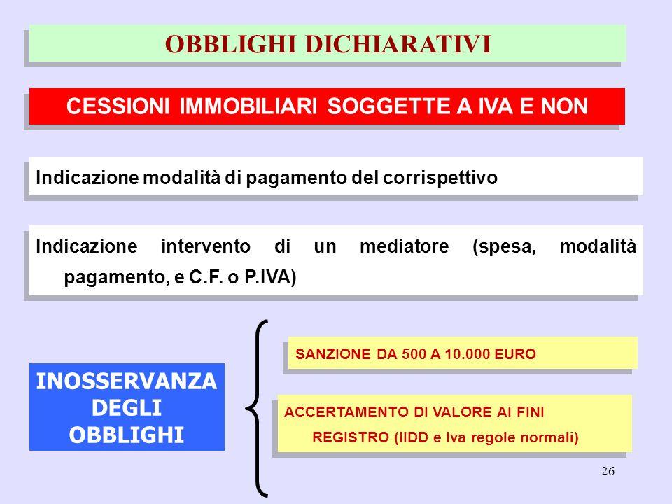 26 Indicazione modalità di pagamento del corrispettivo CESSIONI IMMOBILIARI SOGGETTE A IVA E NON OBBLIGHI DICHIARATIVI INOSSERVANZA DEGLI OBBLIGHI Ind