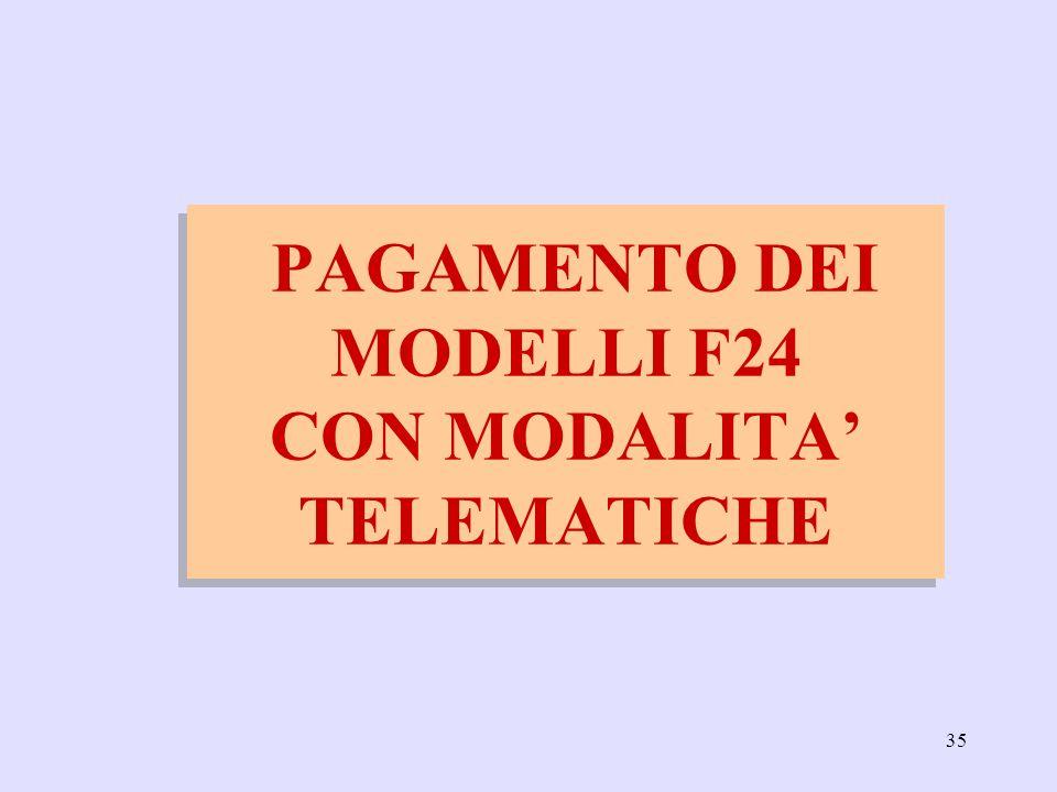 35 PAGAMENTO DEI MODELLI F24 CON MODALITA TELEMATICHE