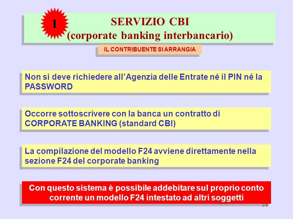 38 SERVIZIO CBI (corporate banking interbancario) IL CONTRIBUENTE SI ARRANGIA 1 Non si deve richiedere allAgenzia delle Entrate né il PIN né la PASSWO
