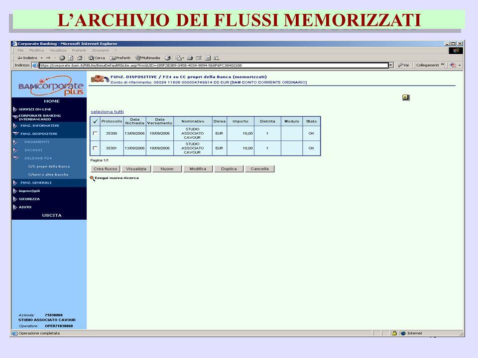 46 LARCHIVIO DEI FLUSSI MEMORIZZATI