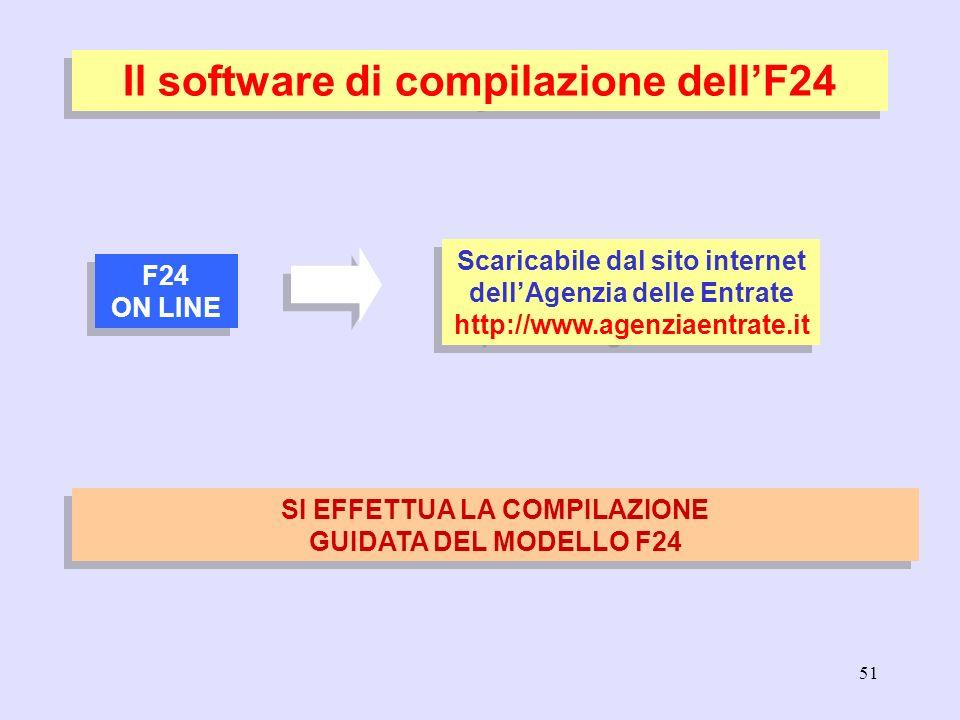 51 Il software di compilazione dellF24 F24 ON LINE F24 ON LINE Scaricabile dal sito internet dellAgenzia delle Entrate http://www.agenziaentrate.it SI