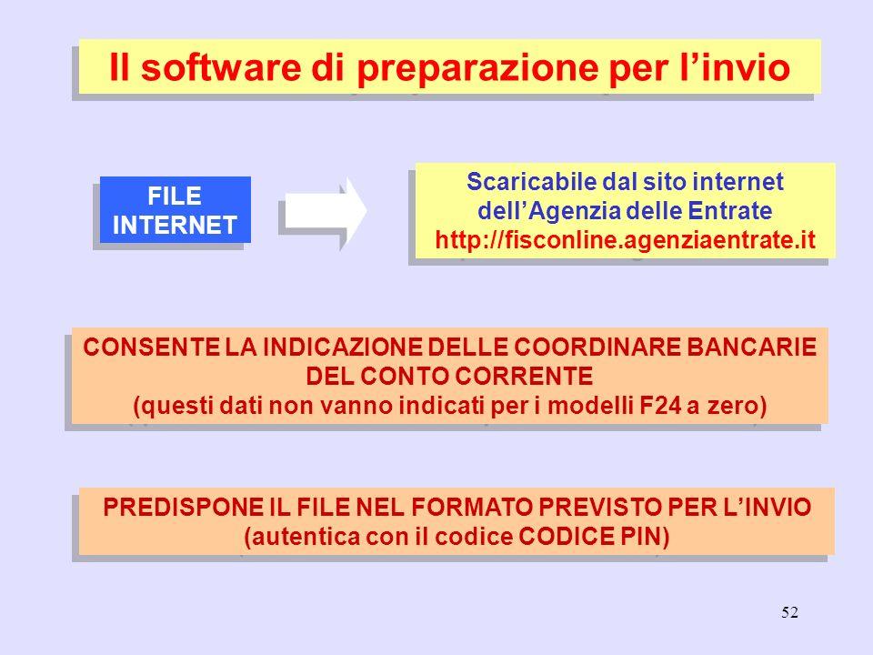 52 PREDISPONE IL FILE NEL FORMATO PREVISTO PER LINVIO (autentica con il codice CODICE PIN) Il software di preparazione per linvio FILE INTERNET Scaric
