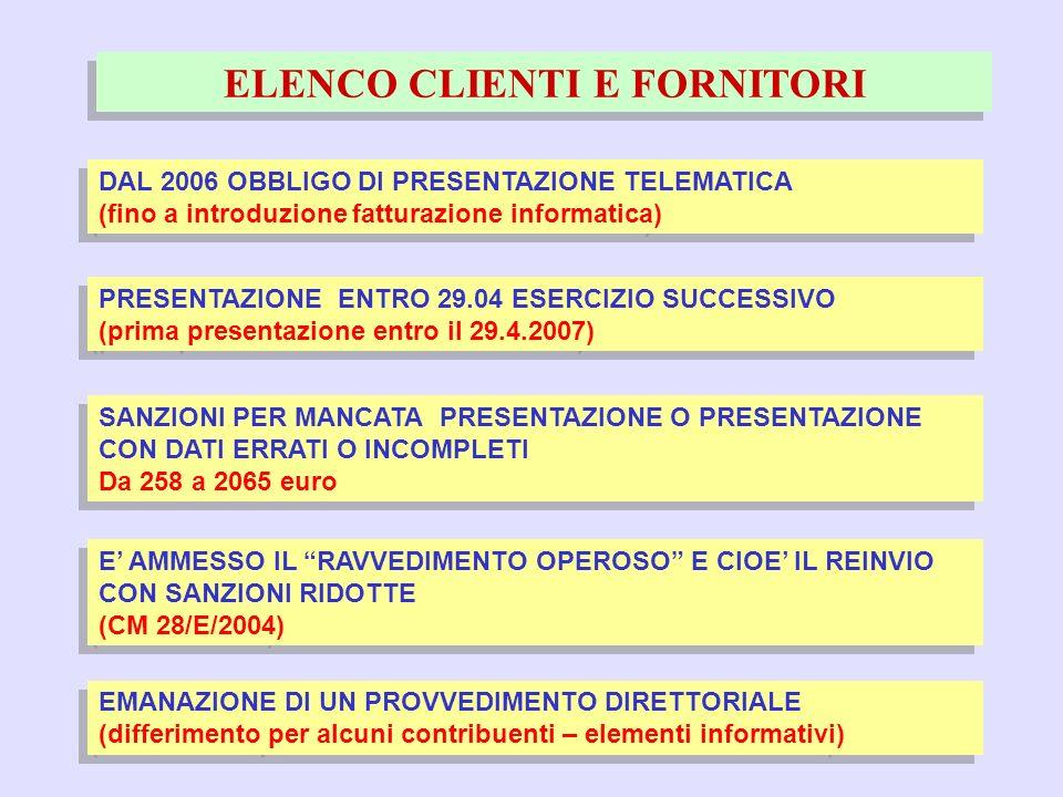 57 ELENCO CLIENTI E FORNITORI DAL 2006 OBBLIGO DI PRESENTAZIONE TELEMATICA (fino a introduzione fatturazione informatica) DAL 2006 OBBLIGO DI PRESENTA